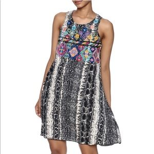 Judith March Embroidered Snakeskin Dress